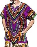 RaanPahMuang Spearhead Heart African Dashiki Shirt Vibrant Colors Afrika Style, XXXX-Large, Purple