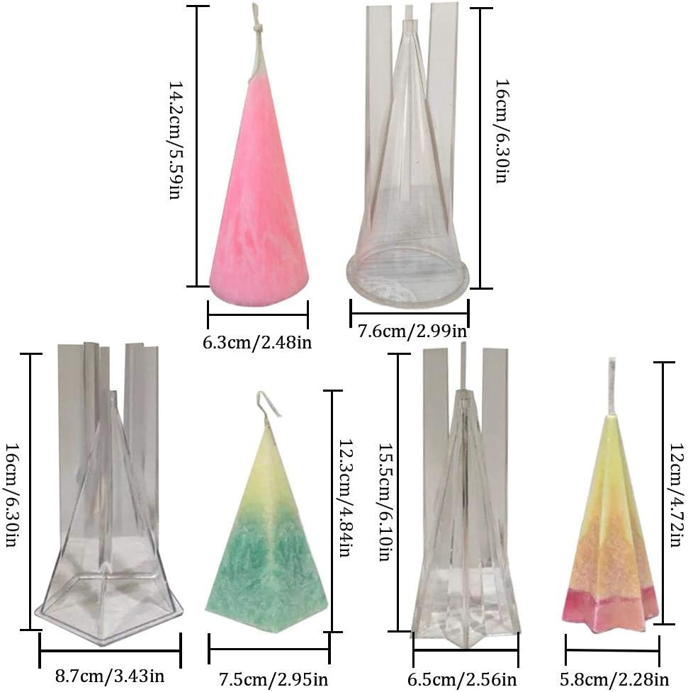 cuffslee Candle Molds Pyramid Shape DIY Silicone Mould Plastic Unique Mold Shapes For Making Candles