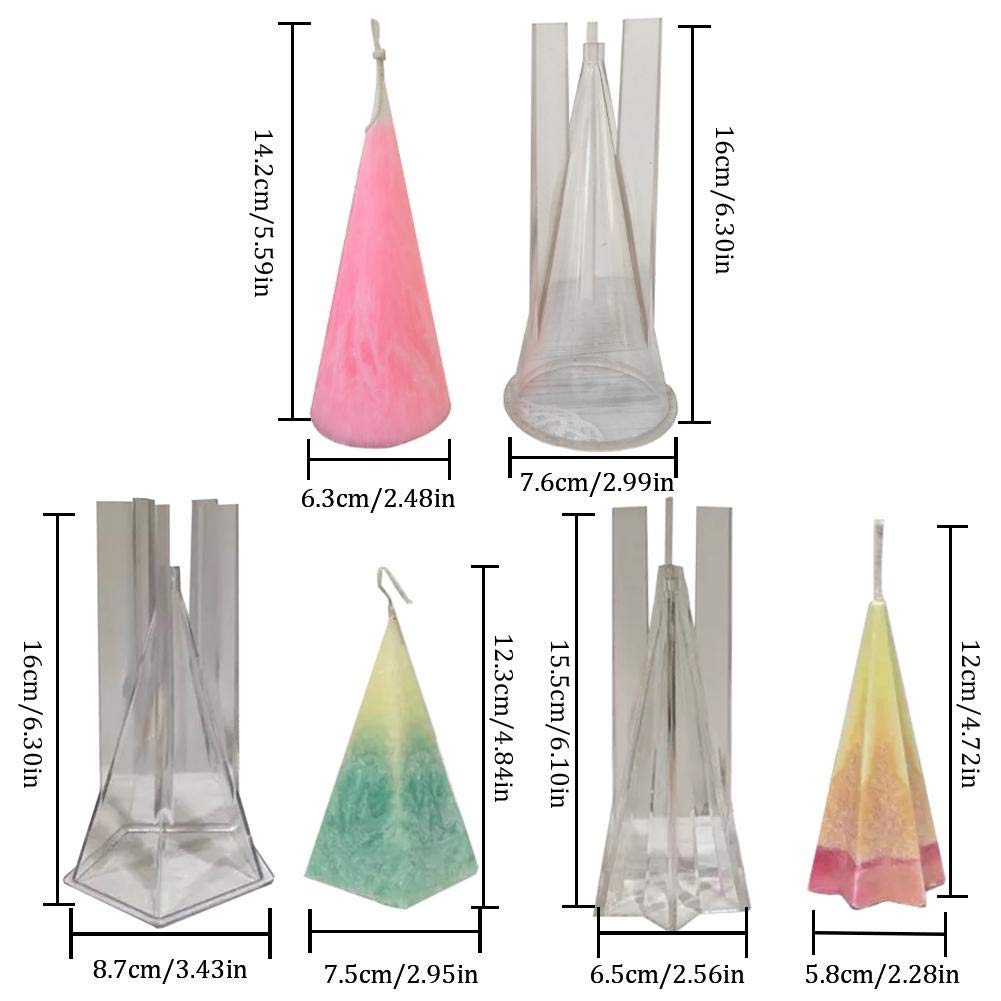 Paradesour Plastic Mold Pyramid DIY Handmade Candle Mold Conical Candle Pentagonal Cone Hexagonal Cone Candle Mould for Making Aromatherapy Candles Cake Decoration