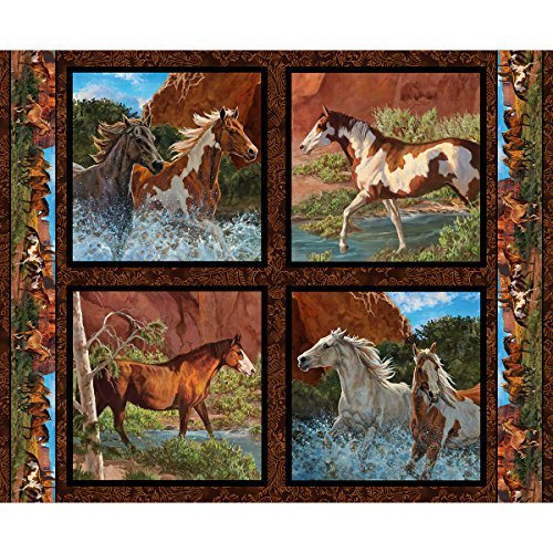 Horse Fabric Wild Wings Pillow Panel Rivers Edge Fabric by the Panel (Pillows Fabric)