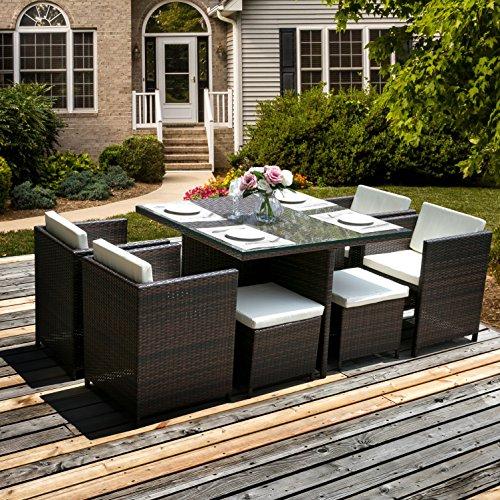 Merax 9 Piece Outdoor Cube Rattan Garden Furniture Set