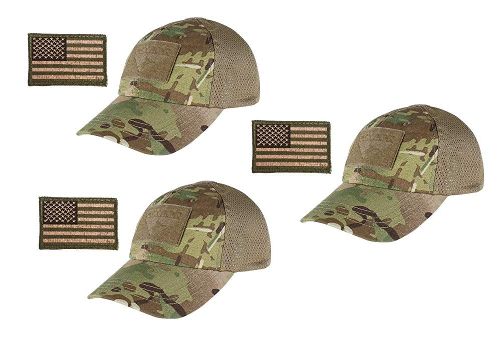 Condor Multicam Mesh Tactical Cap & USA Flag Patch Stitching & Excellent Fit for Most Head Sizes (Pack of 3) by 2A Tactical Gear