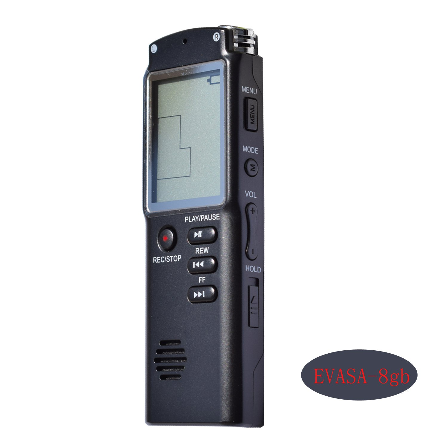 Digital Voice Recorder by EVASA,8GB Audio Voice Recorder,Hi-Fi Mp3 Player,HD Dual-Mic Recorder,Voice Activated,Noise Cancelling Recorder(Black)