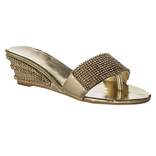 faef6bbefa03c Ladies Womens Low Wedge Diamante Toe Post Shoes Sparkly Mules 3 GOLD