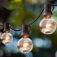 Guirnalda Luces Exterior, Guirnaldas Luminosas de Exterior y Interior 25 G40 Bombillas con 3 de Carga, Cadena Luces…