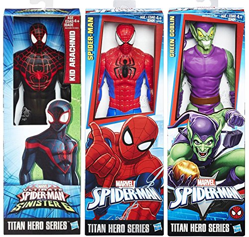 Ultimate Spider-Man vs. The Sinister Six: 3-Pack Titan Hero Series Kid Arachnid & Spider-Man Classic Suit + The Green Goblin Villain & Set Marvel Hero Action Figures