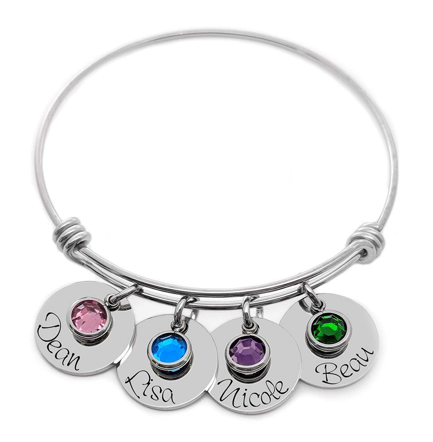 a7cb1462f56d8 Birthstone Jewelry Mothers Bracelet with kids names Personalized Engraved  Gift For Mom Gift From Kids