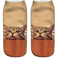 ☀☀ Maonet Clearance Casual Work Business Socks 3D Cute Cat Printing Medium Sports Socks