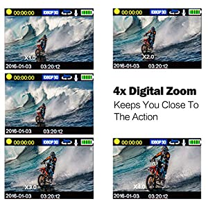 Aokon ASJ70 Action Camera 12MP 1080P HD WiFi 4X Zoom Waterproof Sports Cam 2 Inch LCD Screen 170 Degree Wide Angle Lens 98ft Underwater DV Camcorder With 19 Accessories Kits (Blue)