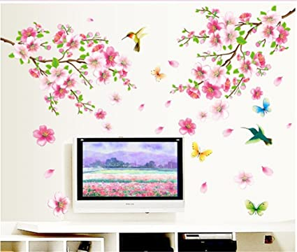 33796a054 BIBITIME Pink 2 Branches Cherry Blossoms Trees Wall Decals Spring Flower  Floral Walls Stickers Hummingbird Butterflies