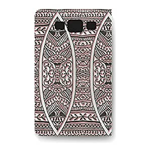 Leather Folio Phone Case For Samsung Galaxy S3 Leather Folio - Doodled Tribals in Red & Black PU Leather Lightweight