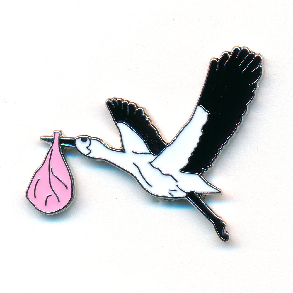 Healing Ebart Knicker Leg and Stork with Baby Pin Badge Metal 0833 Import / Hegerring