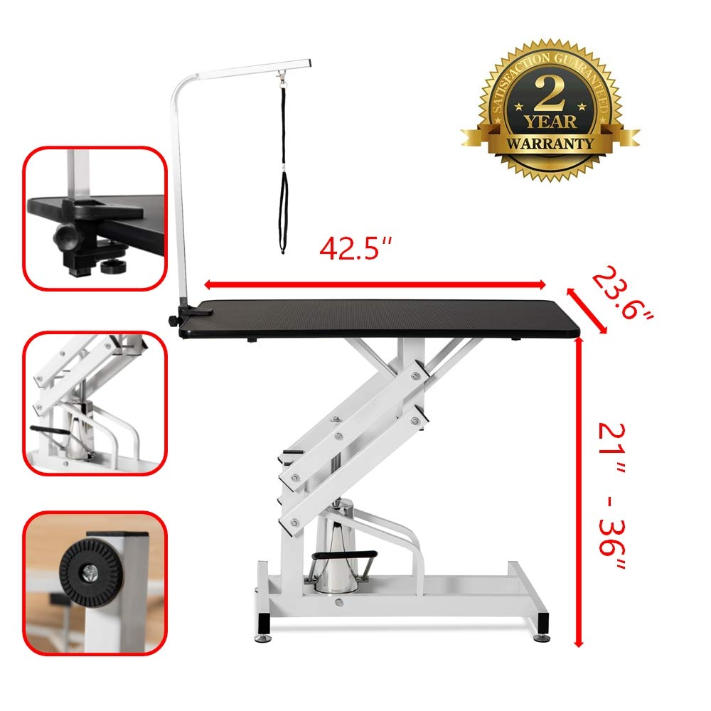 puppykitty Z-Lift Hydraulic Pet Grooming Table Heavy Duty Professional Dog Grooming Table with Clamp On Arm Height Adjustable Great for Large Dogs Cats