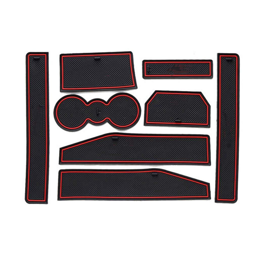 8X-SPEED para Evoque 2012 2013 2014 2015 8 Piezas Almohadilla de La Ranura de Puerta Cup Alfombrillas Interior Alfombrillas Antideslizantes Interior Puerta Seguridad Pad Rojo