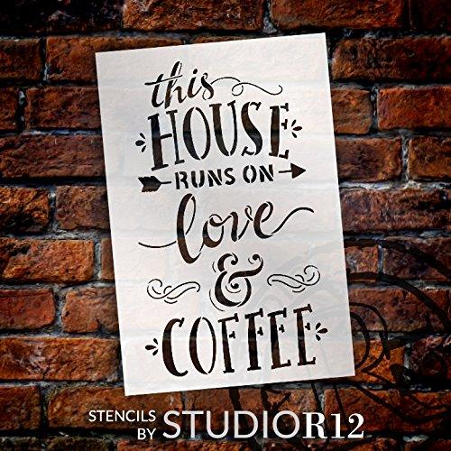 この家Runs on Love &コーヒー – Wordステンシル – 7