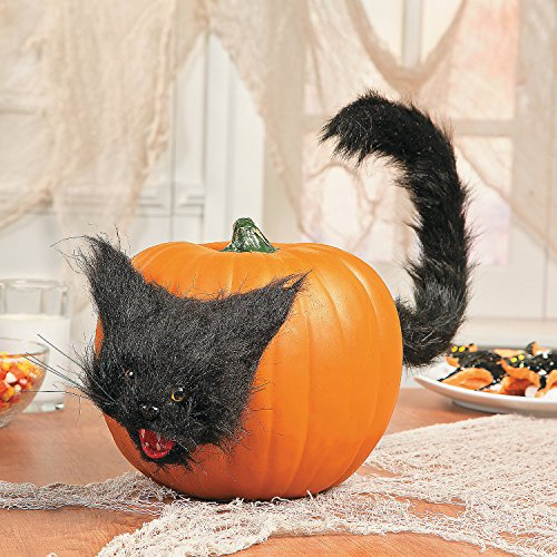 Black Cat Pumpkin Halloween Push In Decoration (Halloween Cat Decorations)