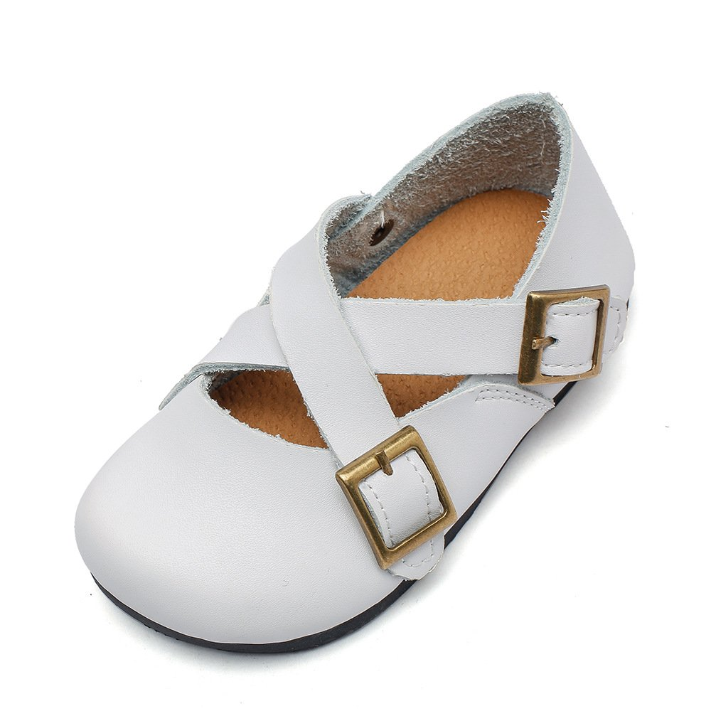 MIGO BABY Toddler Kids Girls Genuine Leather Double Buckles Mary Jane Flat Walking Shoes