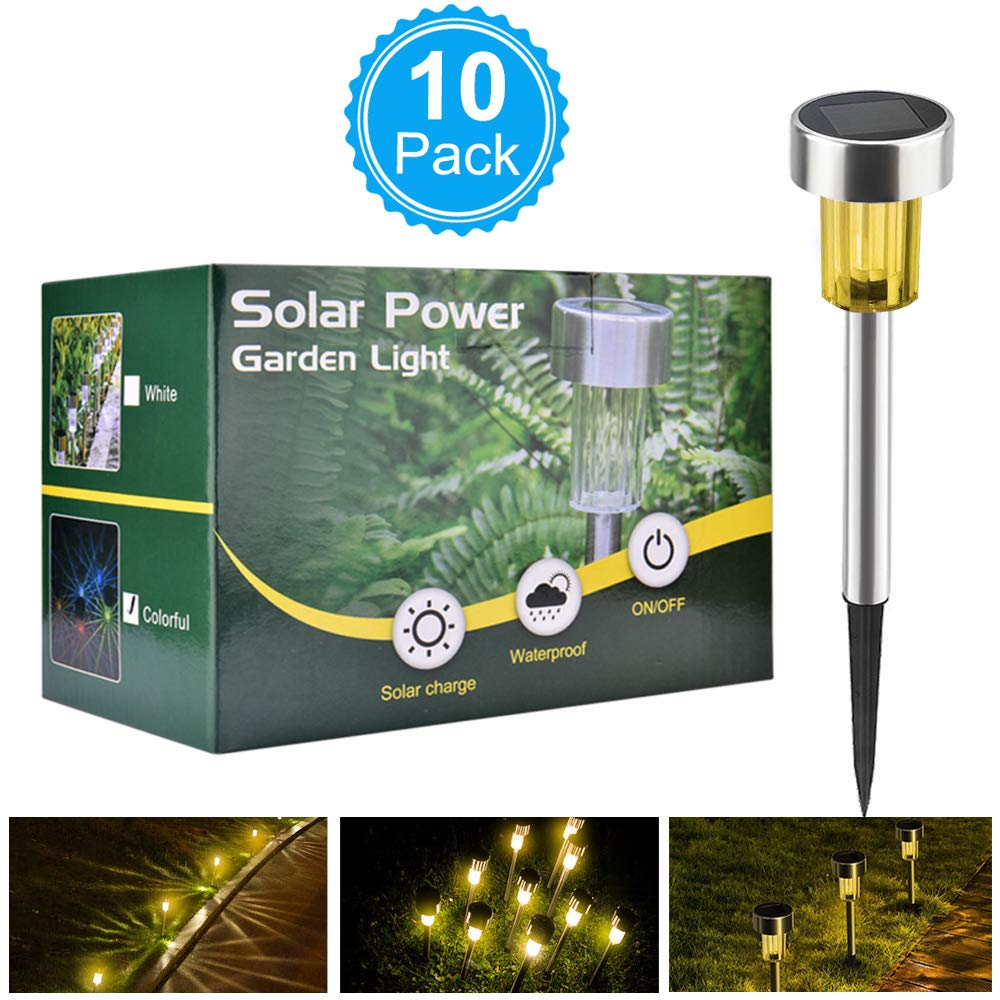Solar Lights Bright Pathway Outdoor Garden Stake Glass Stainless Steel Waterproof Auto On//Off Colorful Wireless Sun Powered Landscape Lighting for Yard Patio Walkway Landscape 10 Pack