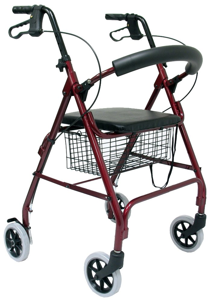Karman Healthcare R-4600-BD Aluminum Rollator with Standard Seat Height, Burgundy, 6 Inches Casters
