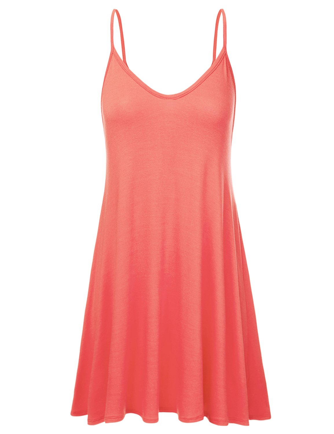 NINEXIS Women's Loose Fit Thin Strap Flared Dress CORAL XL
