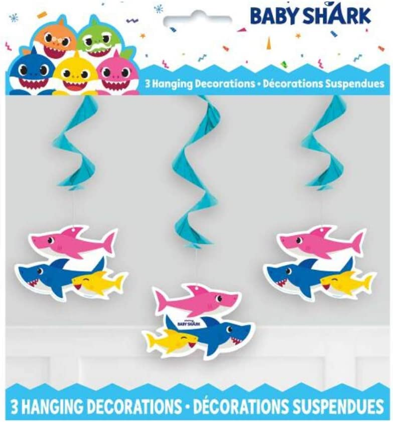 Shark Party Birthday Decorations Bundle Includes Table Cover and 3 ct Hanging Swirls Large Jointed Banner