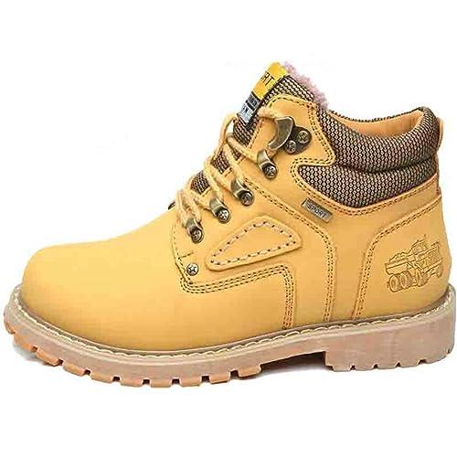 Botas De Cuero para Hombre Botines De Trabajo Botas De Goma Impermeables para La Nieve Botas De Ocio Zapatos Retro Zapatos con Cordones para Caminar para ...