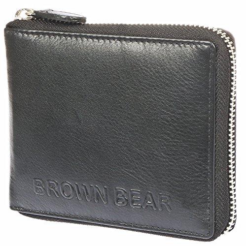 Brown Bear, Geldbörse Leder Reißverschluss schwarz, BB magic Max