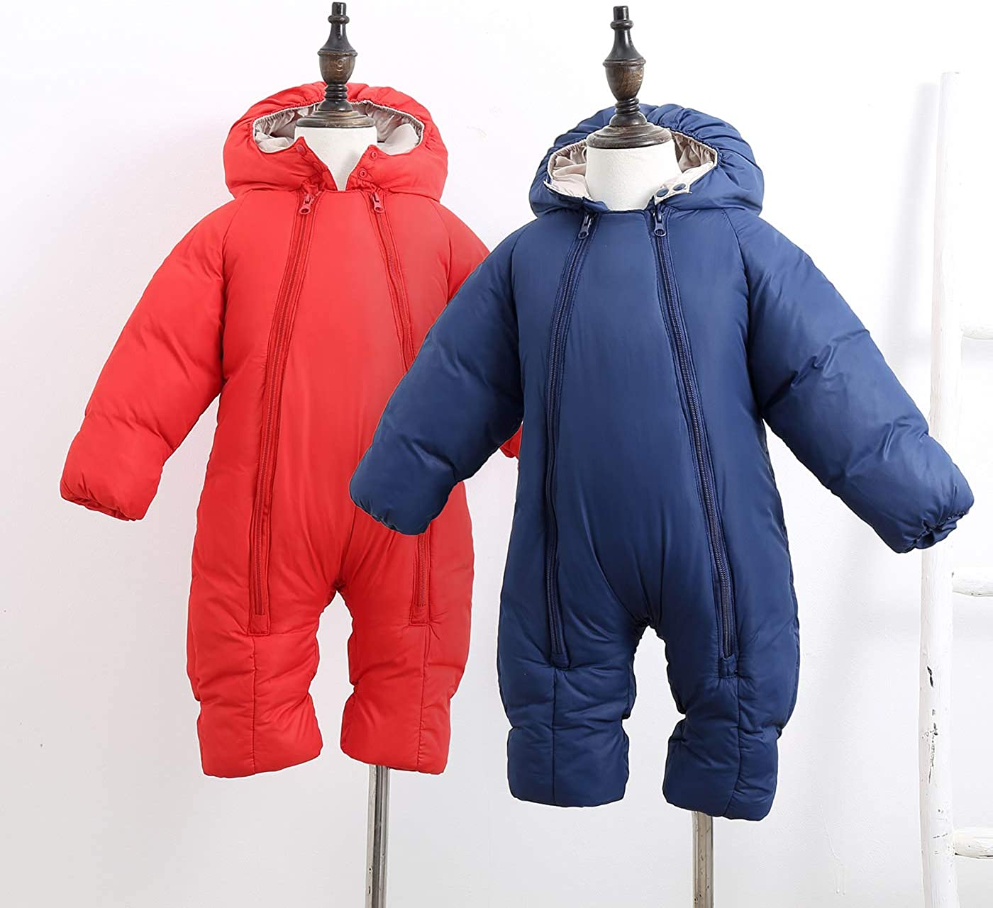 Happy Cherry Baby Toddler Snowsuit Double Zipper Long Sleeve Padding Jumpsuit 6-24 Months