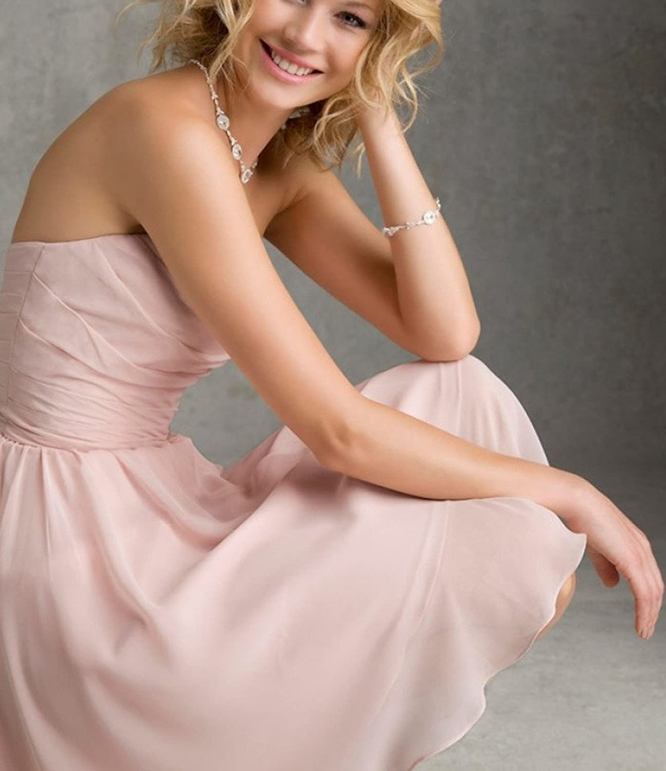 Simple Chiffon Homecoming Dresses Strapless Short Evening Prom Gowns