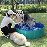 Fuloon Foldable Pet Swimming Pool Bathing Tub Bathtub Dog Cats Washer (M, Green)