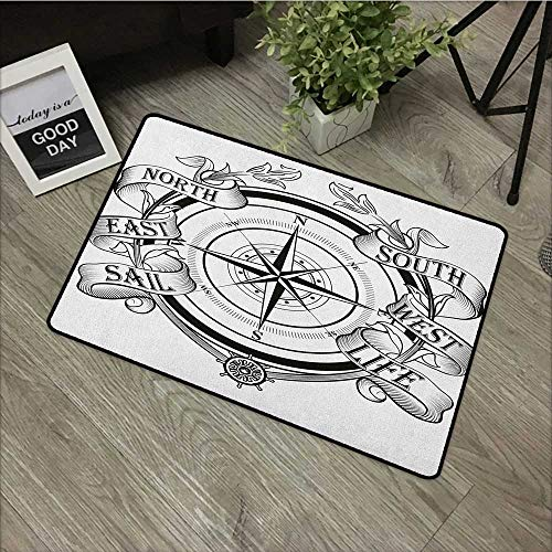 - Bathroom Door mat W16 x L24 INCH Compass,Navigation Device Direction Flares Sail Life Marine Inspired Windrose Work of Art, Black White Non-Slip, with Non-Slip Backing,Non-Slip Door Mat Carpet