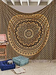 Original Gold And Black Ombre Tapestry By RawyalCrafts Mandala Hippie Tapestry, Hippie Wall Hanging Tapestries, Bohemian Tapestries, Queen Mandala Home Decor