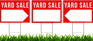 """VIBE INK 3 Pack Yard Sale Signs Kit - Double Sided Signs & Metal H-Stakes - Red Property Signs 24""""x18"""" – Great for Garage or Yard Sales – High Visibility Signs with Directional Arrows"""