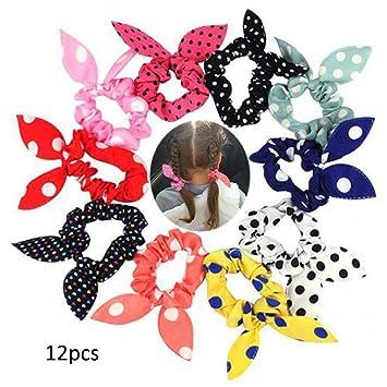 Amazon.com   Swovo Cute Girls Hair Tie Bands Rabbit Ear Hair ElasticTie  Bands Ropes Ponytail Holder 12PCS(Color Randomly)   Beauty 904ead0611ae