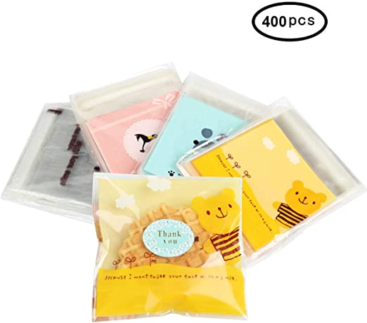 100 Pcs Self-adhesive Bags Snack Cookie Biscuits Candy Gift Bag Baking Package G