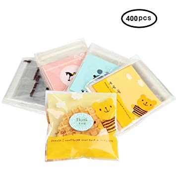 Translucent Plastic Bags/Cellophane Bags wrappers Self Adhesive OPP Decorating bags for Cookie,Cake,Chocolate,Candy,Snack Wrapping Good for Bakery ...