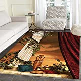 Gothic Area Rug Greek Style Scene Climber Pillow Fruits Vine and Red Curtain Ancient Figure Sunset Indoor/Outdoor Area Rug 2'x3' Multicolor