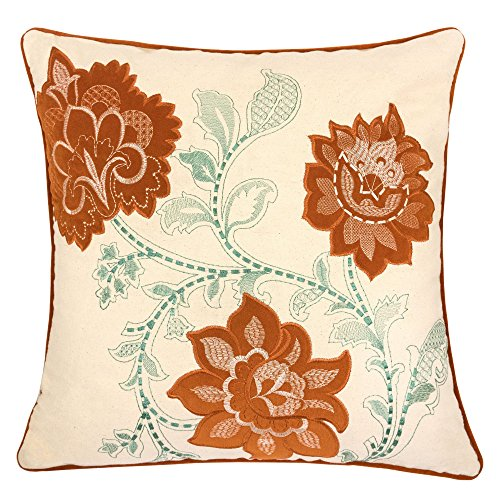 Homey Cozy Embroidery Canvas Throw Pillow Cover,Orange Series Floral Decorative Square Couch Cushion Pillow Case 20 x 20 Inch, Cover (Floral Square Decorative Pillow)