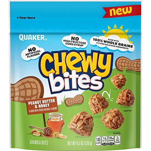 (Quaker Peanut Butter & Honey Flavored Chewy Bites 4.5oz, pack of 1)