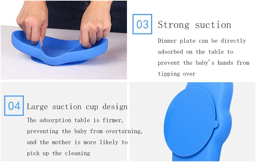 Green Silicone Suction Plates for Toddlers with Snap Tight Cover,Baby Elephant Toddler Placemat Divided Plates
