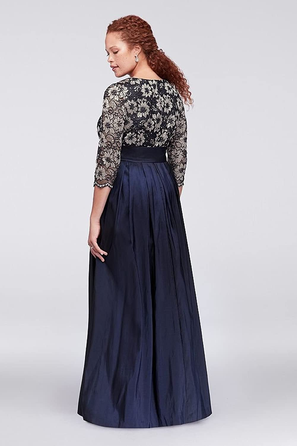 David\'s Bridal Floral Lace and Shantung Plus Size Ball Mother Of ...