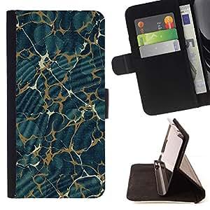 For Samsung Galaxy S6 Case , Modelo de la textura del extracto del oro azul- la tarjeta de Crédito Slots PU Funda de cuero Monedero caso cubierta de piel