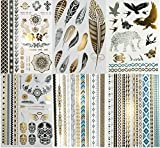 Super Metallic Gold Silver Black Jewelry Temporary Bling Tattoo 6 Sheets Pack (L2 Style) offers