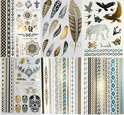 Super Metallic Gold Silver Black Jewelry Temporary Bling Tattoo 6 Sheets Pack (L2 Style) ()