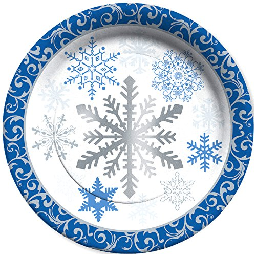 C.R. Gibson Winter Snowflakes 8 Count Paper Dinner Plates, - Paper Winter Blue