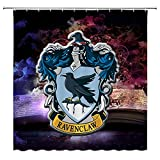 Feierman Kid's Harry Potter Shower Curtain Decor Hogwarts Magic School Logo Bathroom Curtain Decor Machine Washable Mildew Resistant with Hooks 70x70Inches