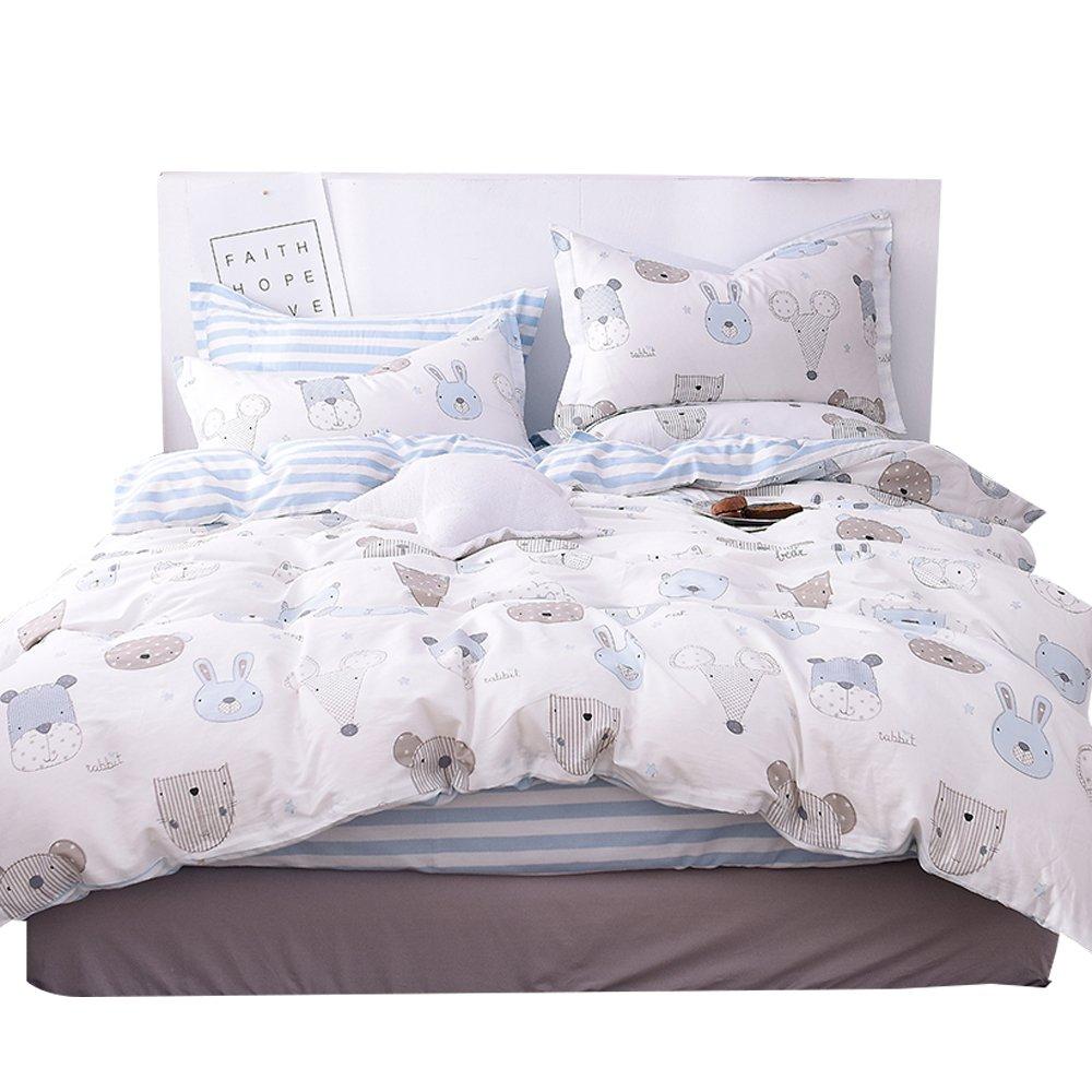 OTOB Cartoon Animals Duvet Cover Set White Blue Reversible 100% Cotton 3 Piece Bedding Set Twin Full Size (Twin, Style 1)