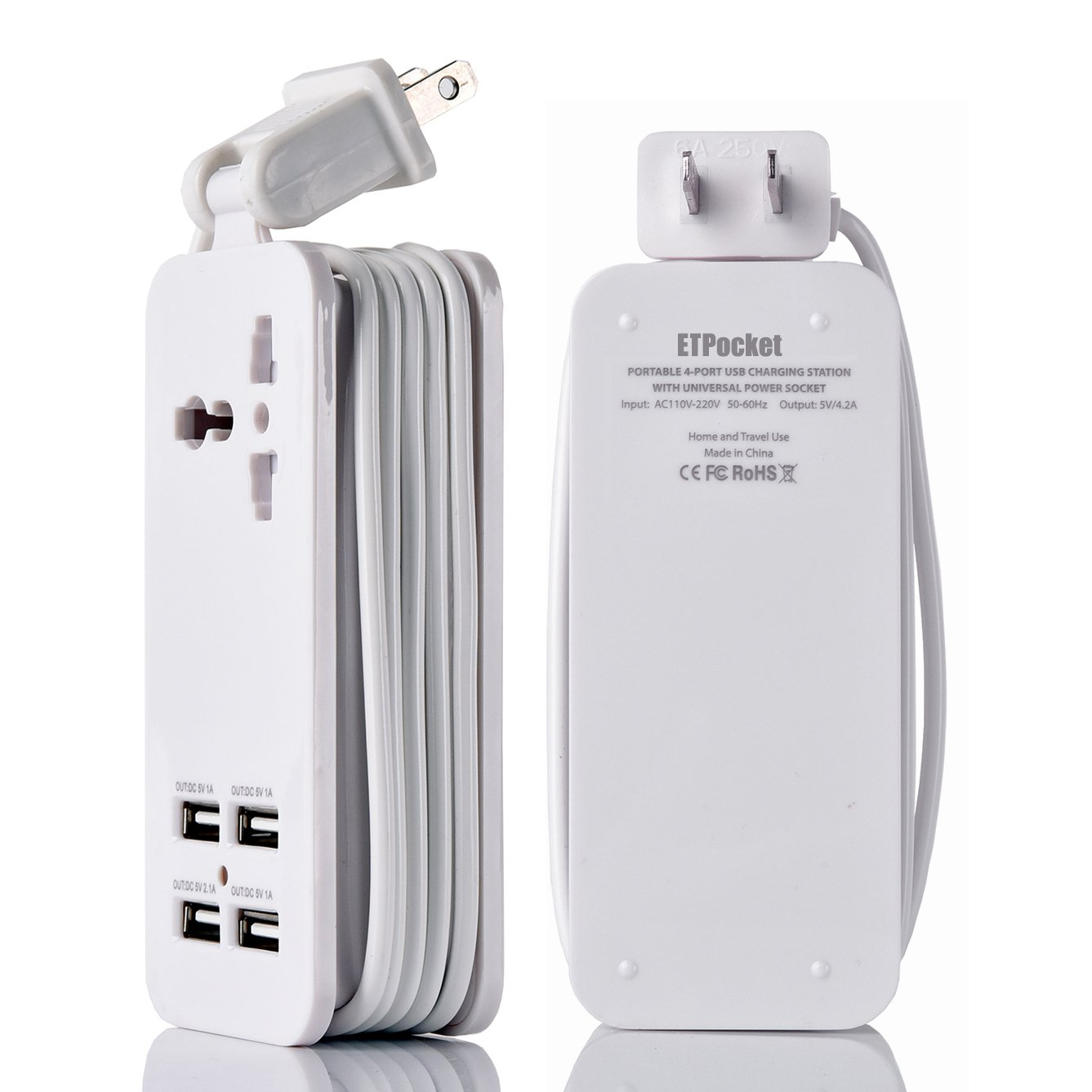 USB Power Strip Portable Travel Charger Outlets 2.1AMP 1AMP 21W 5Foot Power Supply Cord With Universal Plug Input From 100v-240v Power Sockets USB Charger Station 4 Port 5v 1A/2.1A USB Charger (White) by ETPocket (Image #3)