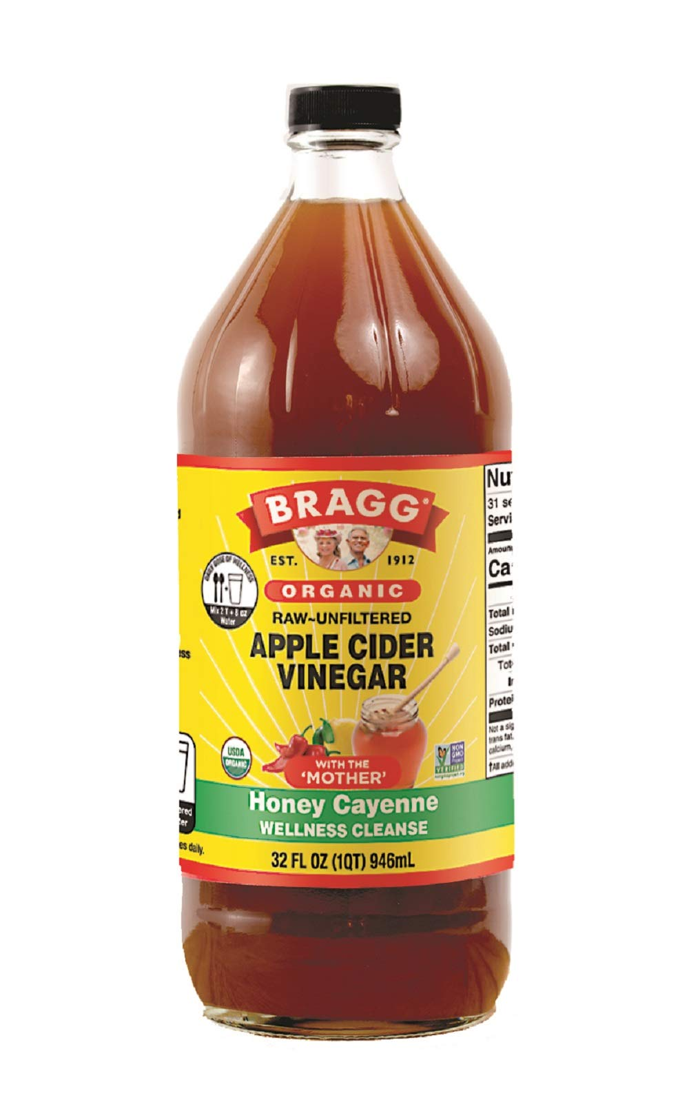 Bragg Organic Apple Cider Vinegar Honey Cayenne Wellness Cleanse – Made with ACV, Honey, Lemon Juice & Cayenne - USDA Certified Organic – Raw, Unfiltered All Natural Ingredients
