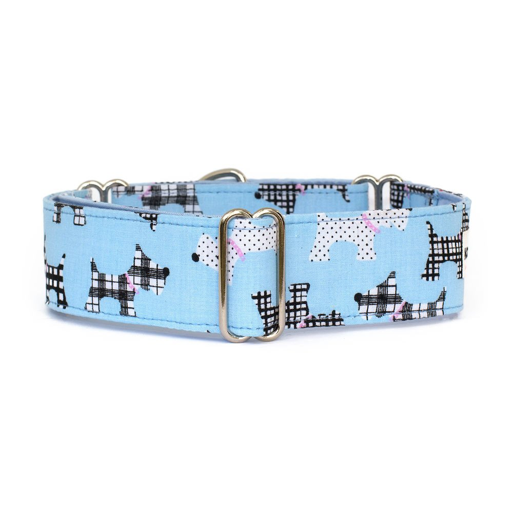 Large 1.5\ Noddy & Sweets Martingale Collar 1.5  Width [Scotties bluee] Large